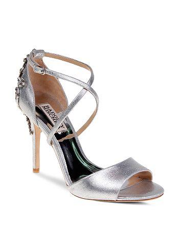 Badgley Mischka - Women's Karmen Embellished Metallic Leather High-Heel Sandals