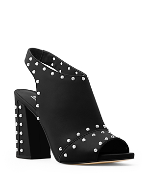 Michael Michael Kors Astor Leather Studded Slingback Block Heel Sandals