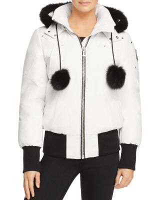 Debbie Fox Fur Trim Down Bomber Jacket, Snow White