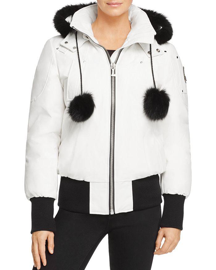 Moose Knuckles - Debbie Fox Fur Trim Down Bomber Jacket