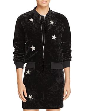 Sandro Briny Embellished Velvet Bomber Jacket - 100% Exclusive
