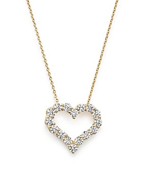 Bloomingdale's - Diamond Heart Pendant Necklace in 14K Yellow Gold, .50 ct. t.w. - 100% Exclusive