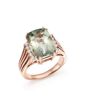 Green Amethyst and Diamond Statement Ring in 14K Rose Gold - 100% Exclusive