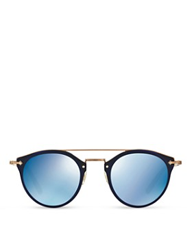 Oliver Peoples - Women's Remick Mirrored Brow Bar Round Sunglasses, 50mm