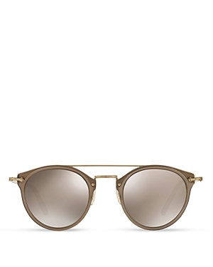 Oliver Peoples Women's Remick Mirrored Brow Bar Round Sunglasses, 50mm