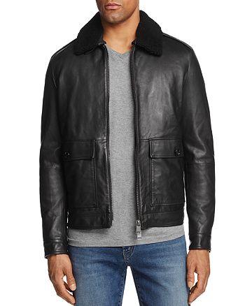 d4279203c48 BOSS Hugo Boss Leather Shearling Collar Bomber Jacket - 100 ...