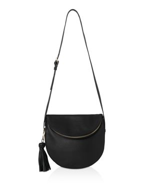 Whistles Clifton Tassel Zip Slouchy Leather Shoulder Bag