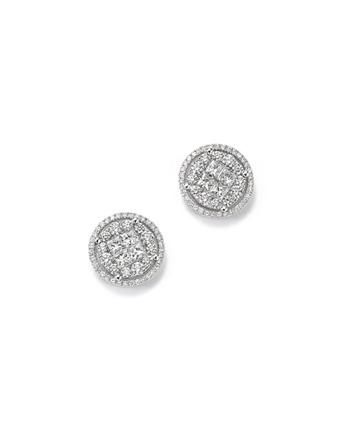 Bloomingdale's - Round and Princess-Cut Diamond Cluster Earrings in 14K White Gold, 2.0 ct. t.w. - 100% Exclusive