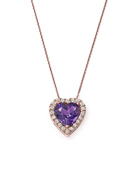 "Bloomingdale's - Amethyst and Diamond Heart Pendant Necklace in 14K Rose Gold, 16"" - 100% Exclusive"