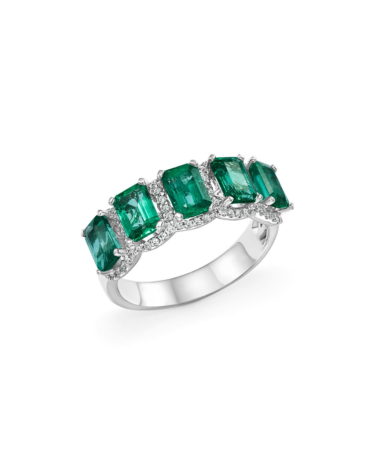 Emerald And Diamond Band Ring In 14 K White Gold   100% Exclusive  by Bloomingdale's