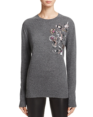 Aqua Cashmere Sequin & Embroidery Crewneck Sweater - 100% Exclusive
