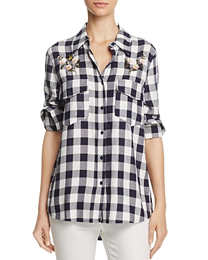 cupcakes and cashmere Justine Embroidered Gingham Shirt