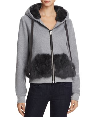 JOCELYN RABBIT FUR TRIM SWEATSHIRT