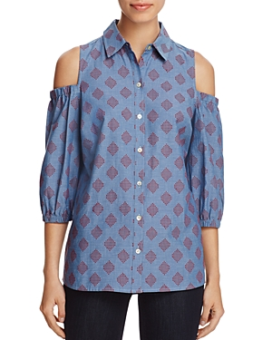 Foxcroft Tyra Cold-Shoulder Shirt