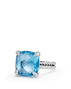 David Yurman - Châtelaine Ring with Blue Topaz and Diamonds, 14.3mm