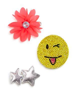 Capelli Girls' Flower, Star & Winky Clips - Set of 3