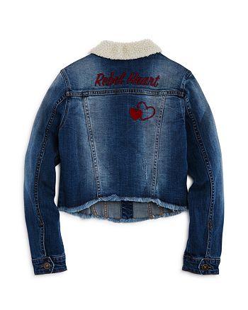 Hudson - Girls' Sherpa-Collared Rebel Heart Jacket, Big Kid - 100% Exclusive
