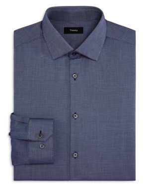 Theory Diamond Weave Textured Slim Fit Dress Shirt