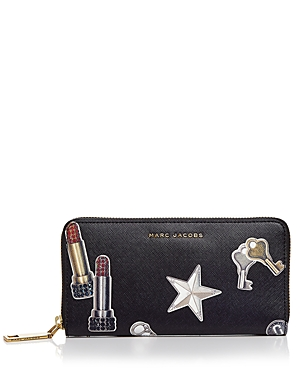 Marc Jacobs Tossed Charms Standard Saffiano Leather Continental Wallet