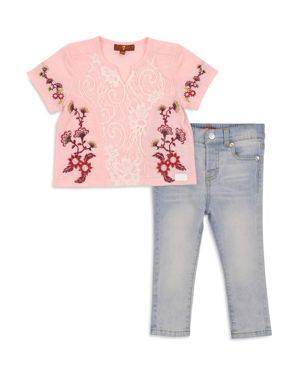 7 For All Mankind Girls' Embroidered Tee & Skinny Jeans Set - Baby 2619630