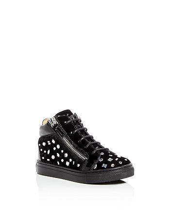 Giuseppe Zanotti - Girls' Veronica Embellished Velvet High Top Sneakers - Toddler, Little Kid
