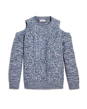 Design History Girls' Cable Knit Cold-Shoulder Top - Big Kid