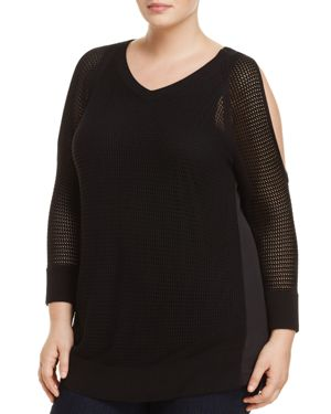 B Collection by Bobeau Curvy Open Knit Cold-Shoulder Top