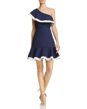 Aqua One-Shoulder Color-Block Ruffle Dress - 100% Exclusive