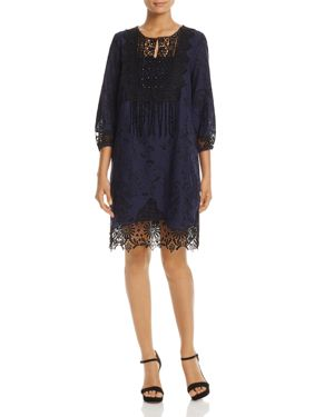 T Tahari Amanda Embroidered Lace Dress