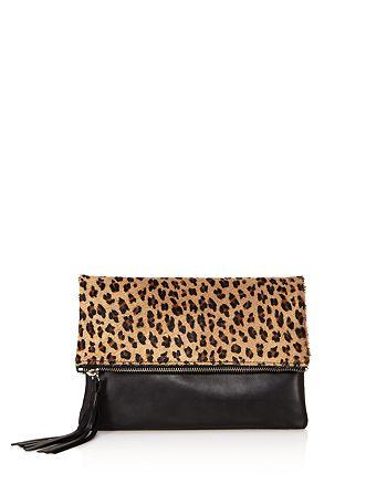 063e2dc9edaa AQUA - Foldover Leopard Print Calf Hair and Leather Crossbody - 100%  Exclusive