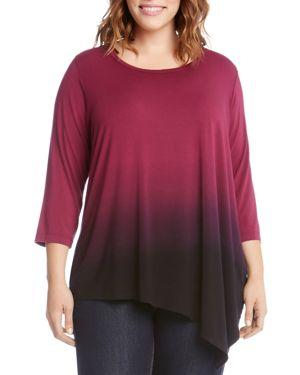 Karen Kane Plus Dip-Dye Asymmetric Top