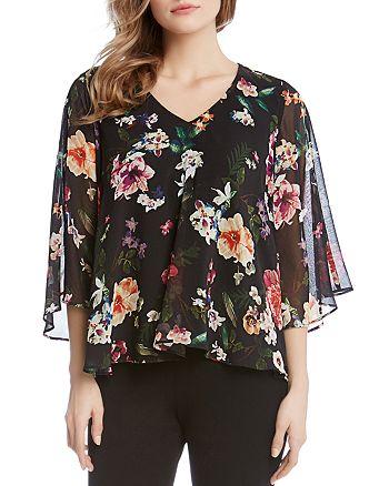 Karen Kane - Floral-Print Sheer-Sleeve Top