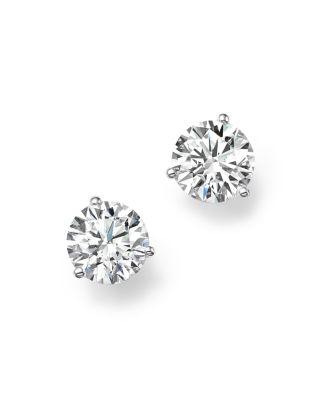 Bloomingdale's CERTIFIED DIAMOND STUD EARRINGS IN 18K WHITE GOLD, 1.50 CT. T.W. - 100% EXCLUSIVE