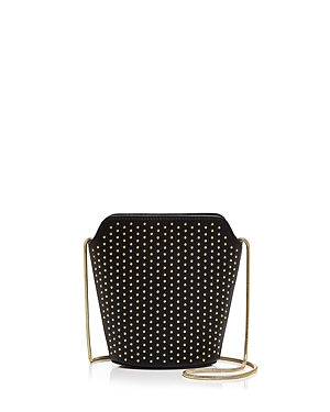Ivanka Trump Claudia Studded Mini Leather Bucket Bag