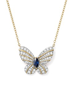"Bloomingdale's - Diamond and Blue Sapphire Butterfly Pendant Necklace in 14K Yellow Gold, 17"" - 100% Exclusive"