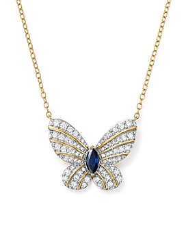 """Bloomingdale's - Diamond and Blue Sapphire Butterfly Pendant Necklace in 14K Yellow Gold, 17"""" - 100% Exclusive"""