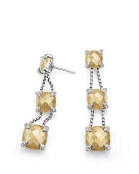 David Yurman - Châtelaine Linear Chain Earrings with 18K Gold and Diamonds