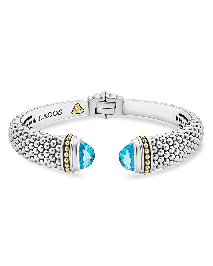 LAGOS - 18K Gold and Sterling Silver Caviar Color Blue Topaz Cuff Bracelets