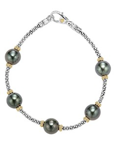 LAGOS - 18K Gold and Sterling Silver Luna Cultured Tahitian Pearl Rope Bracelet
