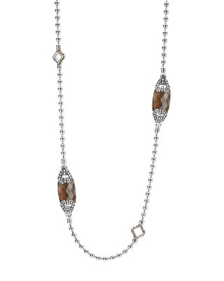 18K Gold And Sterling Silver Caviar Color Station Necklace With Smoky Quartz, 34, Brown/Silver