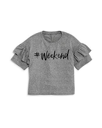 AQUA - Girls' Ruffled #Weekend Tee, Big Kid - 100% Exclusive