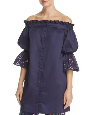 Parker Dakota Embroidered Off-the-Shoulder Silk Dress