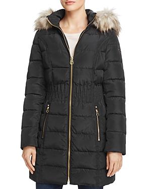 Cinched Waist Faux Fur Trim Puffer Coat
