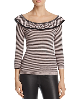 Rebecca Taylor Ruffle Stripe Sweater - 100% Exclusive