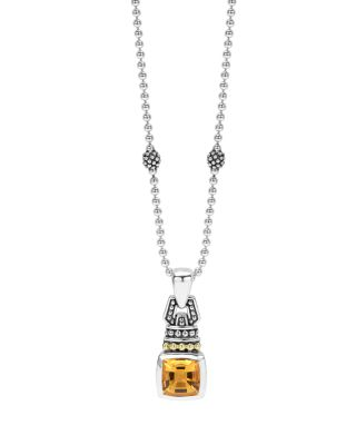18K Gold And Sterling Silver Caviar Color Necklace With Citrine, 16