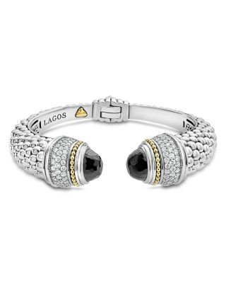 18K Gold and Sterling Silver Caviar Color Black Spinel and Diamond Cuff, 14mm
