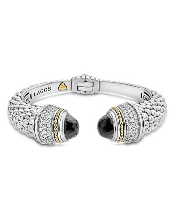 LAGOS - 18K Gold and Sterling Silver Caviar Color Black Spinel and Diamond Cuff, 14mm