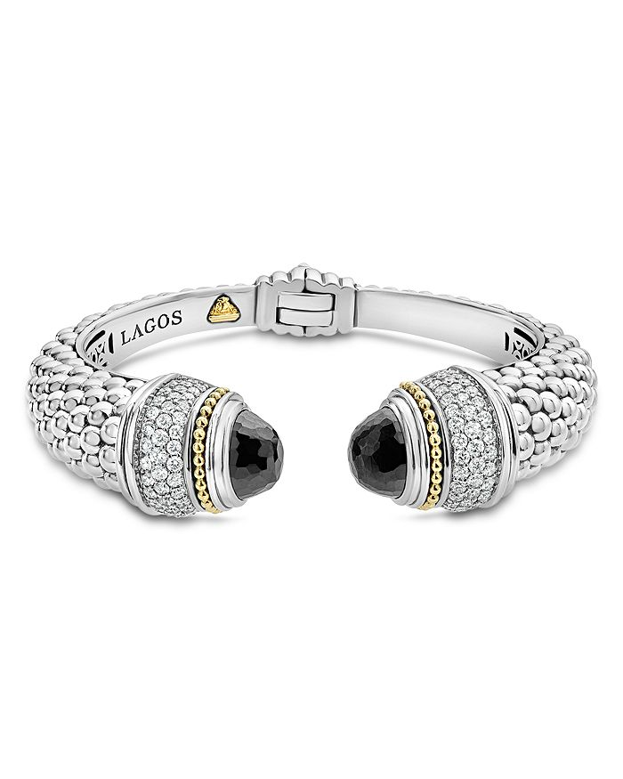 LAGOS - 18K Gold and Sterling Silver Caviar Color Gemstone and Diamond Cuffs, 14mm