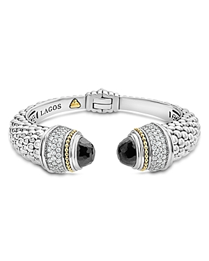 Lagos 18K Gold and Sterling Silver Caviar Color Black Spinel and Diamond Cuff, 14mm