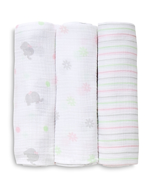 Little Me Infant Girls' Sweet Elephant Swaddle Blankets, 3-Pack
